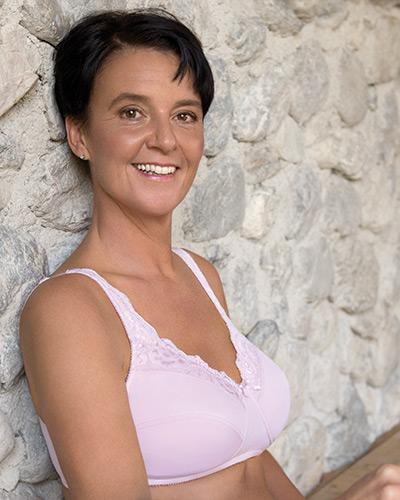 Spezial BH für brustoperierte Frauen, Modell Front Lace BH Art. 501 in der Frabe rose.