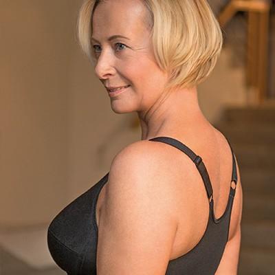 Prothesen BH für Frauen nach Brustkrebs. X-Back Rose BH, Art. 133 in schwarz